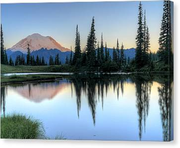 Rainier From Tipsoo Canvas Print by Peter Mooyman