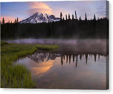 Rainier Lenticular Sunrise Canvas Print by Mike  Dawson