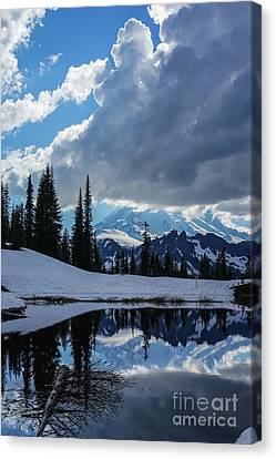 Rainier Reflection Dramatic Skies Canvas Print by Mike Reid