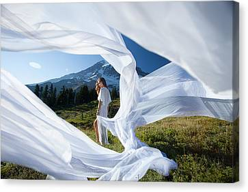 Canvas Print featuring the photograph Rainier Ribbons by Dario Infini