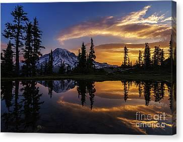 Alpine Canvas Print - Rainier Sunrise Reflection #2 by Mike Reid