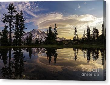Rainier Sunrise Reflection #3 Canvas Print by Mike Reid