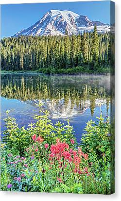 Canvas Print featuring the photograph Rainier Wildflowers At Reflection Lake by Pierre Leclerc Photography