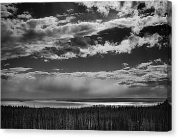 Canvas Print featuring the photograph Raining At Yellowstone Lake by Jason Moynihan