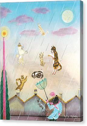 Raining Cats And Dogs Canvas Print by Sally Appleby