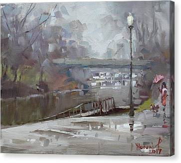 Raining In Tonawanda Canal Canvas Print