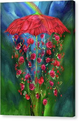 Fanciful Canvas Print - Raining Roses by Carol Cavalaris