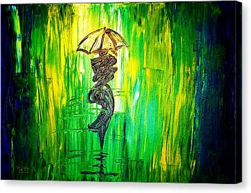 Canvas Print featuring the painting Rainning Green by Piety Dsilva