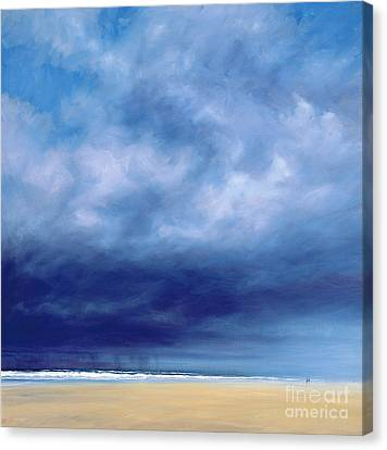 Rainstorm Off Holkham Beach  Canvas Print by Derek Hare
