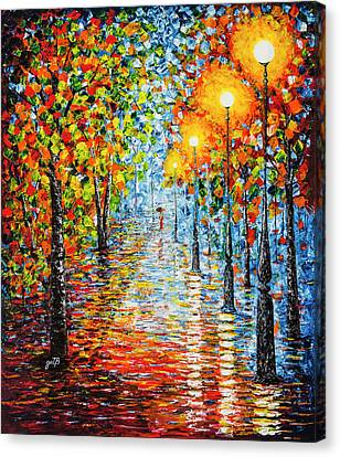 Canvas Print - Rainy Autumn Evening In The Park Acrylic Palette Knife Painting by Georgeta Blanaru