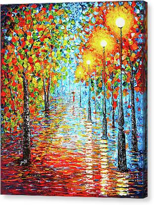 Canvas Print featuring the painting Rainy Autumn Evening In The Park Acylic Palette Knife Painting by Georgeta Blanaru