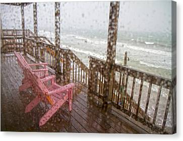 Rainy Beach Evening Canvas Print by Betsy C Knapp