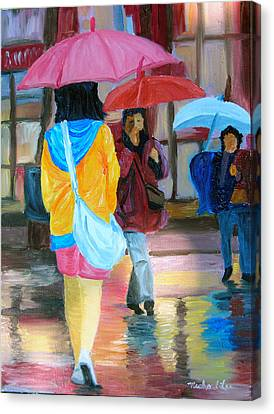 Rainy City Canvas Print by Michael Lee