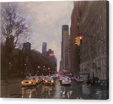 Rainy City Street Canvas Print by Anita Burgermeister
