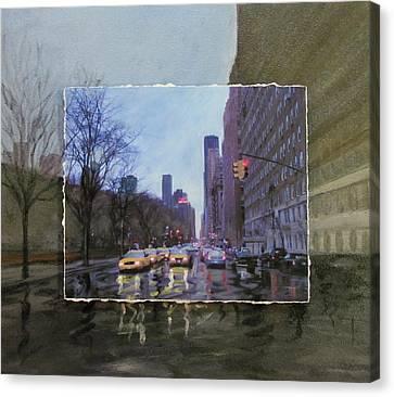 Rainy City Street Layered Canvas Print by Anita Burgermeister