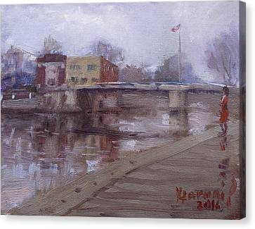 Rainy Day At Tonawanda Canal Canvas Print by Ylli Haruni