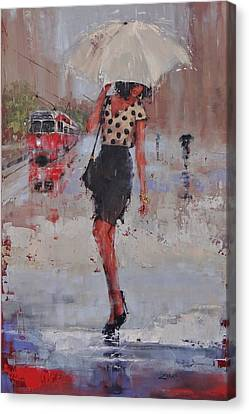 Canvas Print featuring the painting Rainy Day Blues by Laura Lee Zanghetti