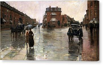 Canvas Print featuring the painting Rainy Day, Boston - 1885  by Frederick Childe Hassam