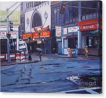 Rainy Day In Boston Canvas Print