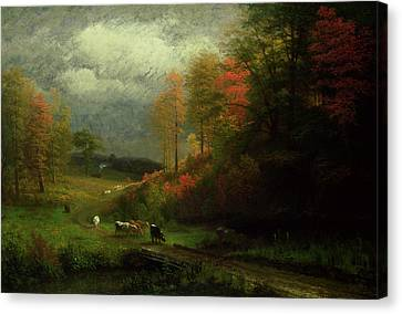 New England Autumn Canvas Print - Rainy Day In Autumn by Albert Bierstadt