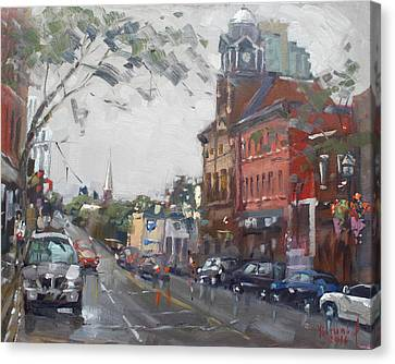 Rainy Day Canvas Print - Rainy Day In Downtown Brampton On by Ylli Haruni