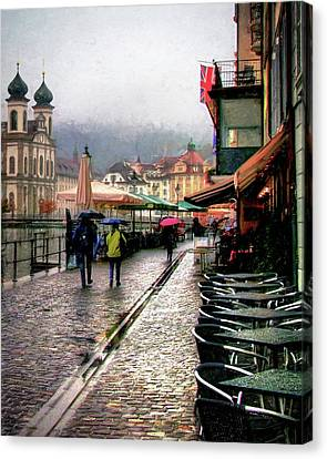 Canvas Print featuring the photograph Rainy Day In Lucerne by Jim Hill