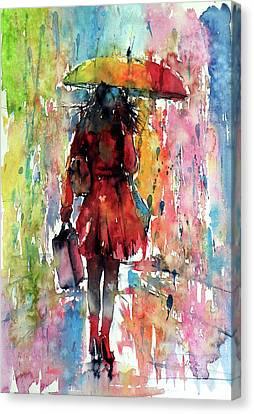 Canvas Print featuring the painting Rainy Day by Kovacs Anna Brigitta