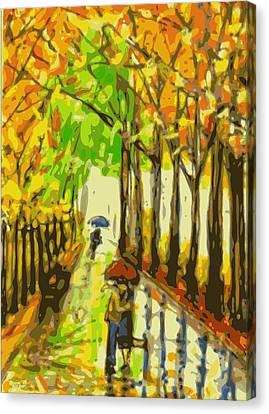 Rainy Day Romance Orig Sold Canvas Print by Larry E Lamb