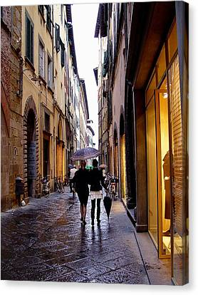 Canvas Print featuring the photograph Rainy Day Shopping In Italy 2 by Nancy Bradley