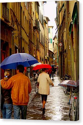 Canvas Print featuring the photograph Rainy Day Shopping In Italy by Nancy Bradley