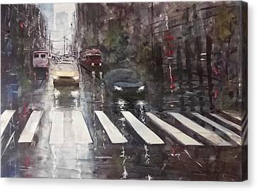 Rainy Day - Street Scene Canvas Print by Maroo Art
