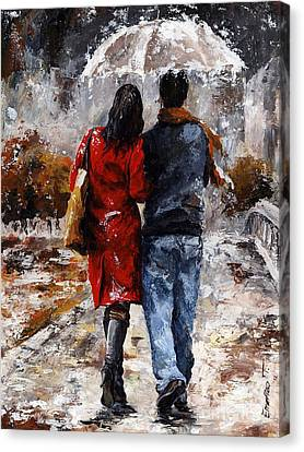 Rainy Day - Walking In The Rain Canvas Print