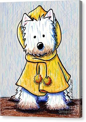Rainy Day Westie Canvas Print by Kim Niles