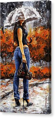 Rainy Day - Woman Of New York 14 Canvas Print