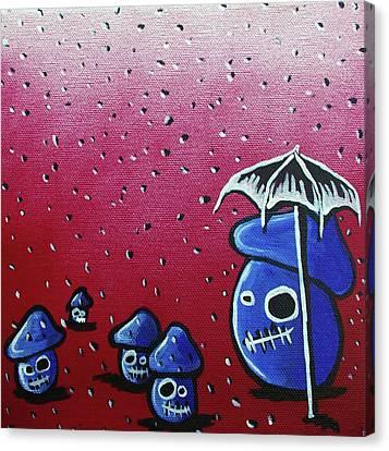 Rainy Day Zombie Mushrooms Canvas Print by Jera Sky