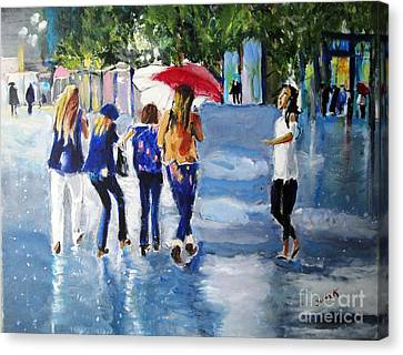 Canvas Print featuring the painting Rainy Days And Mondays by Judy Kay