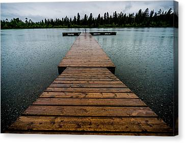 Canvas Print featuring the photograph Rainy Dock by Darcy Michaelchuk