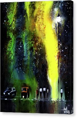 Rainy Evening Canvas Print by Anil Nene