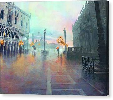 Rainy Evening In Venice Canvas Print by Stephanie Shimerdla