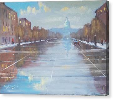 Rainy January Day In Dc Canvas Print by Len Stomski