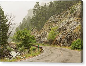 Canvas Print featuring the photograph Rainy Misty Boulder Creek And Boulder Canyon Drive by James BO Insogna