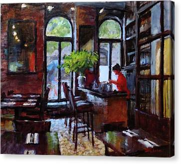 Rainy Morning In The Restaurant Canvas Print by Peter Salwen