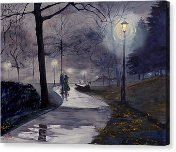Rainy Night In Central Park Canvas Print
