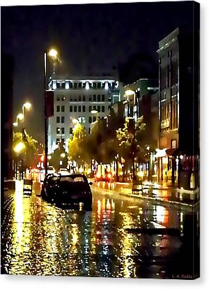 Rainy Night In Green Bay Canvas Print by Lauren Radke