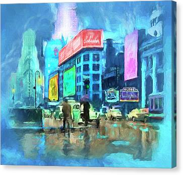 Rainy Night In New York Canvas Print by Michael Cleere