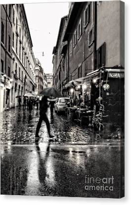 rainy night in Rome Canvas Print by HD Connelly