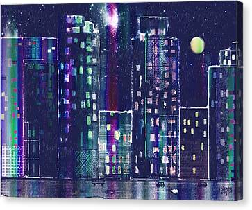 Rainy Night In The City Canvas Print by Arline Wagner