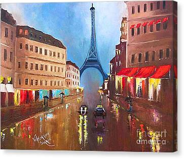Rainy Paris Canvas Print by Viktoriya Sirris