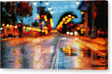 Rainy Street - Pa Canvas Print by Leonardo Digenio
