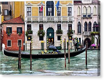 Gondola Ride Canvas Print - Rainy Venice by Frozen in Time Fine Art Photography